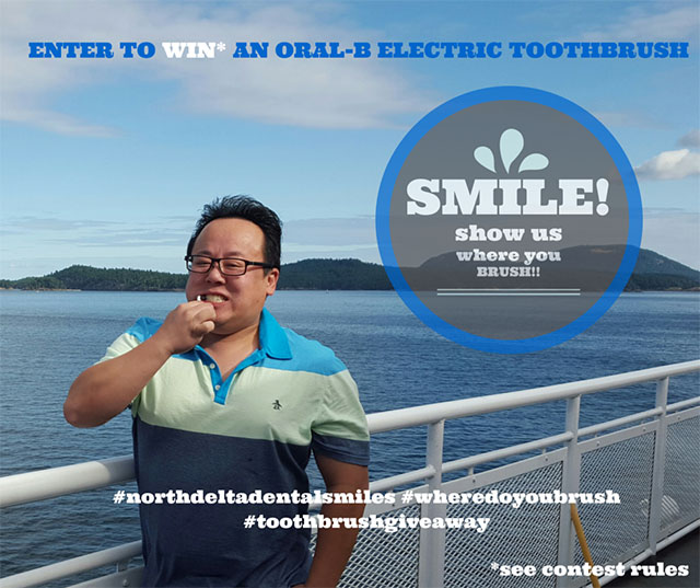 Dr Calvin Tham Brushing his Teeth on a BC Ferry